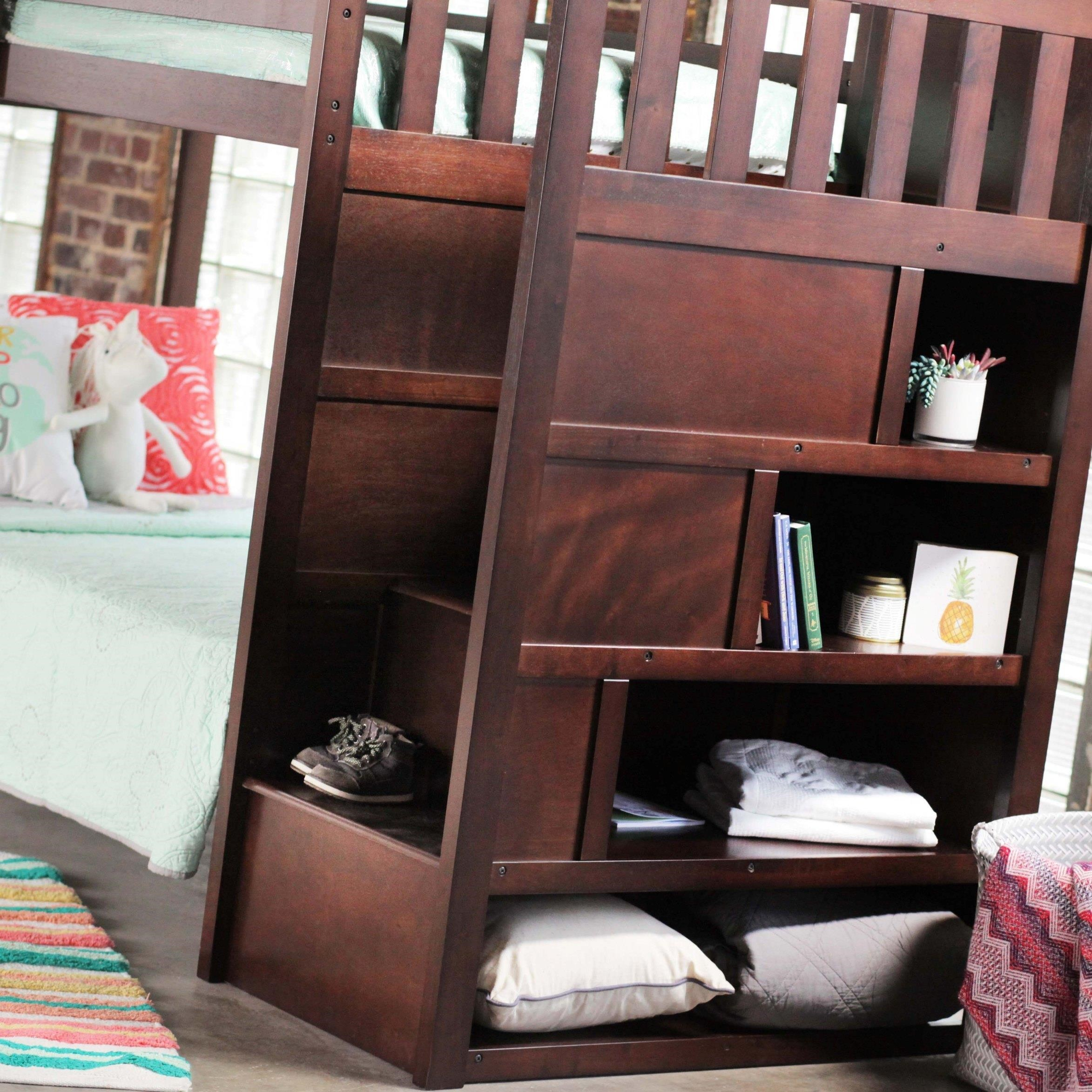 Beau ... Simmons Upholstery 3000 Mission Hills ChesnutBunkbed With Stairs And  Storage ...