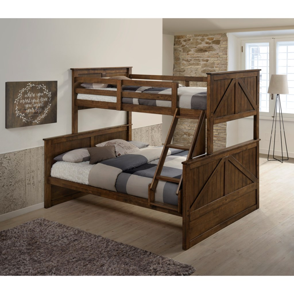 Simmons Upholstery Ashland Modern Rustic Twin Over Full Bunk Bed