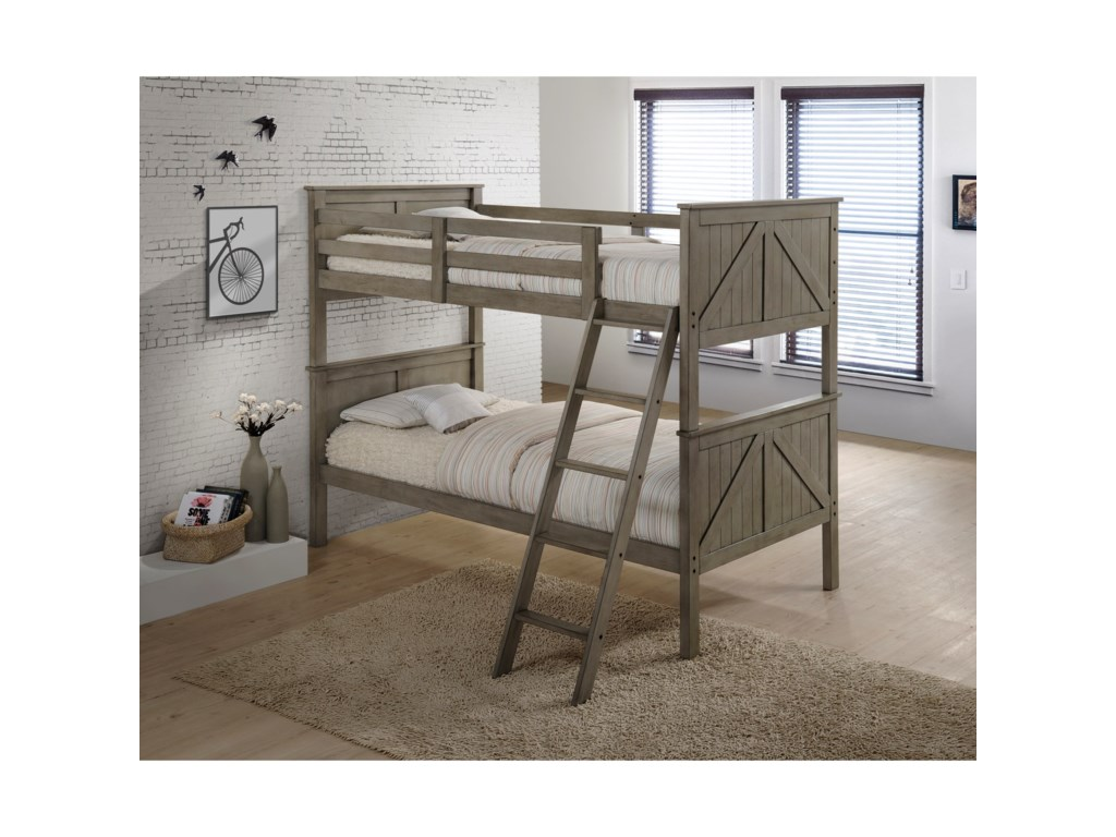 Simmons Upholstery AshlandTwin Over Twin Bunk Bed