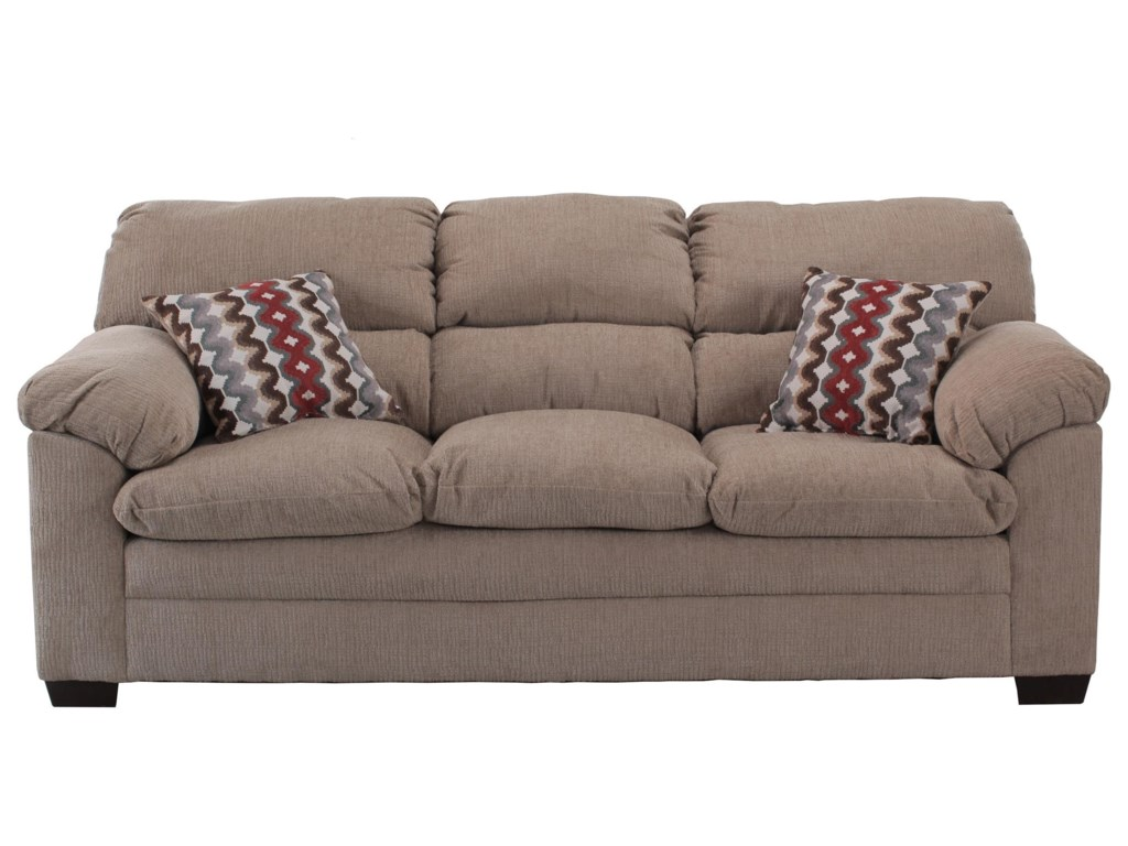 Simmons Upholstery 3683 Casual Sofa With Pillow Arms