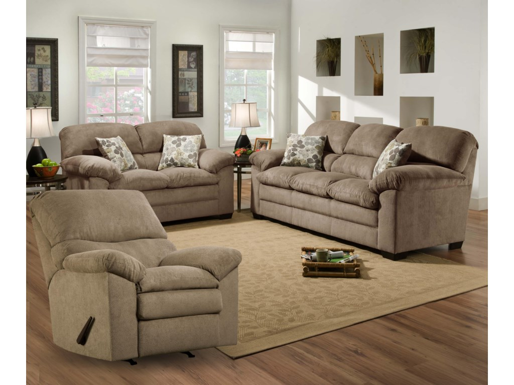 Simmons Upholstery 3684 Puff MuskSofa, Loveseat and Recliner