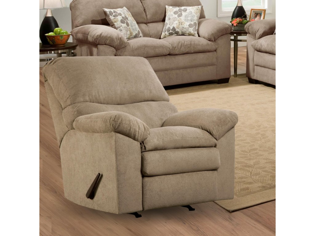 Simmons Upholstery 3684 Puff MuskRecliner with Plush Pillow Arms