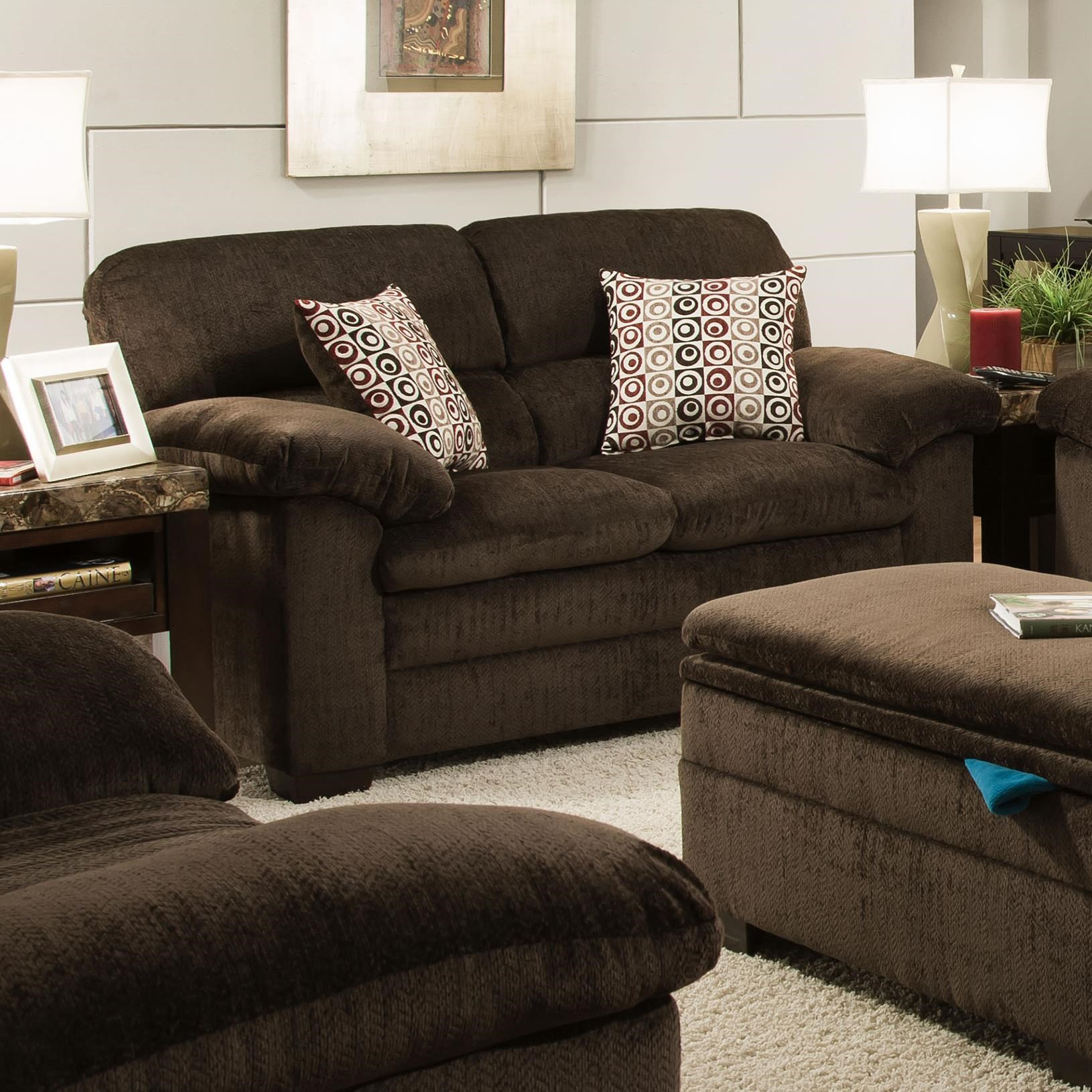 Marvelous Simmons Upholstery 3684 Stationary Loveseat With Pillow Top Arms U0026 Exposed  Wood Legs   Dunk U0026 Bright Furniture   Love Seats