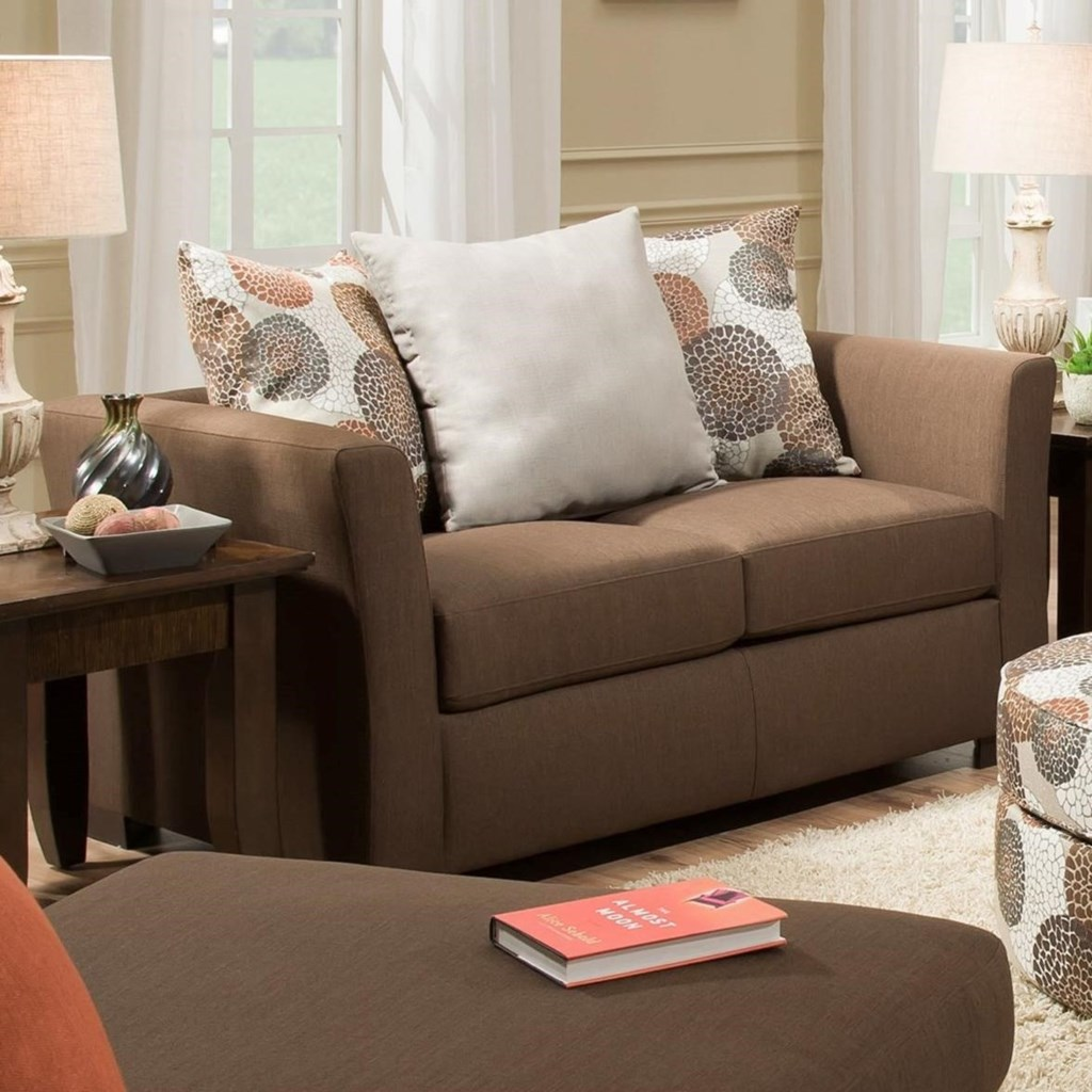 Simmons Upholstery 4201 4201Loveseat TikiBrown Transitional Loveseat