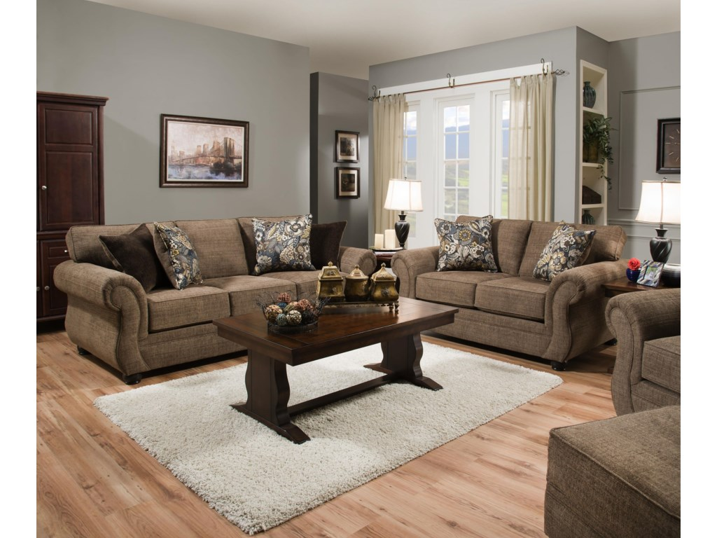 Simmons Upholstery 4250 BRSofa and Loveseat