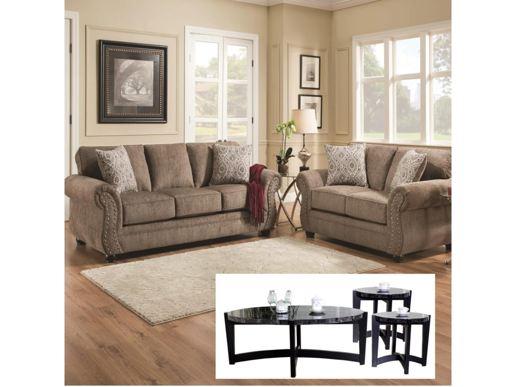 Simmons Upholstery 4253Sofa and Loveseat with Tables