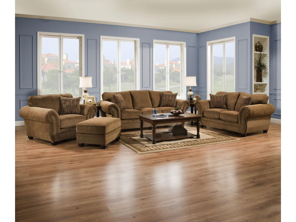 Simmons Upholstery 4276Traditional Loveseat with Rolled Arms