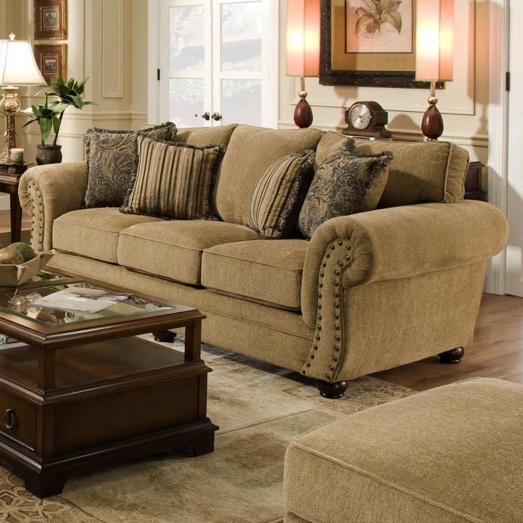 Simmons Upholstery 4277 Traditional Sofa with Rolled Arms and