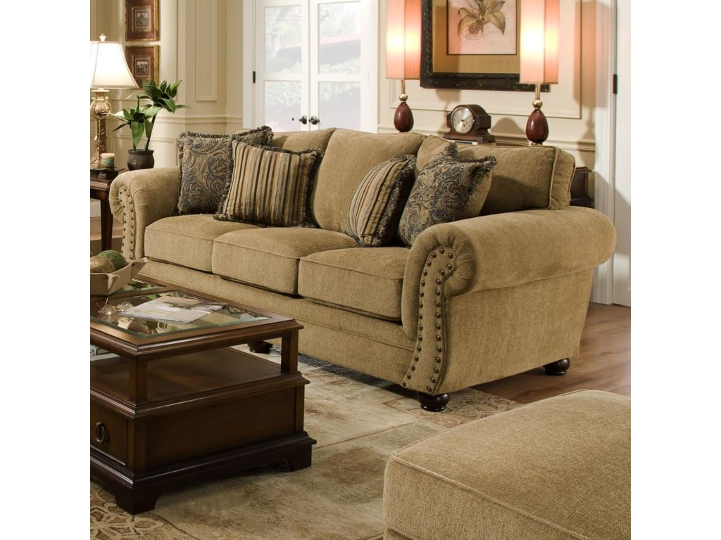 Simmons Upholstery 4277 Traditional Sofa with Rolled Arms and ...