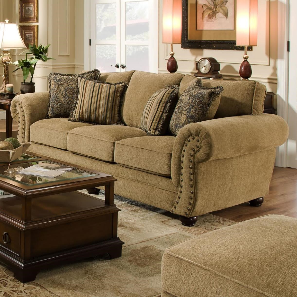 simmons upholstery traditional sofa with rolled arms and nailhead trim dunk u0026 bright furniture sofa - Nailhead Sofa