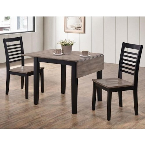United Furniture Industries Hampton Casual Three Piece Dining Set with Two-Tone Drop Leaf Table