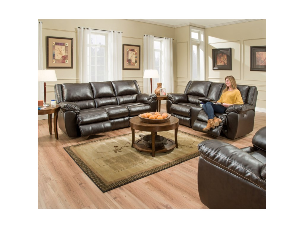 Simmons Upholstery 50433BRDouble Motion Console Loveseat