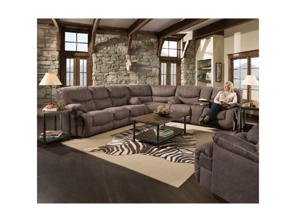 50455BR Casual 3-Piece Reclining Sectional with Storage and ...