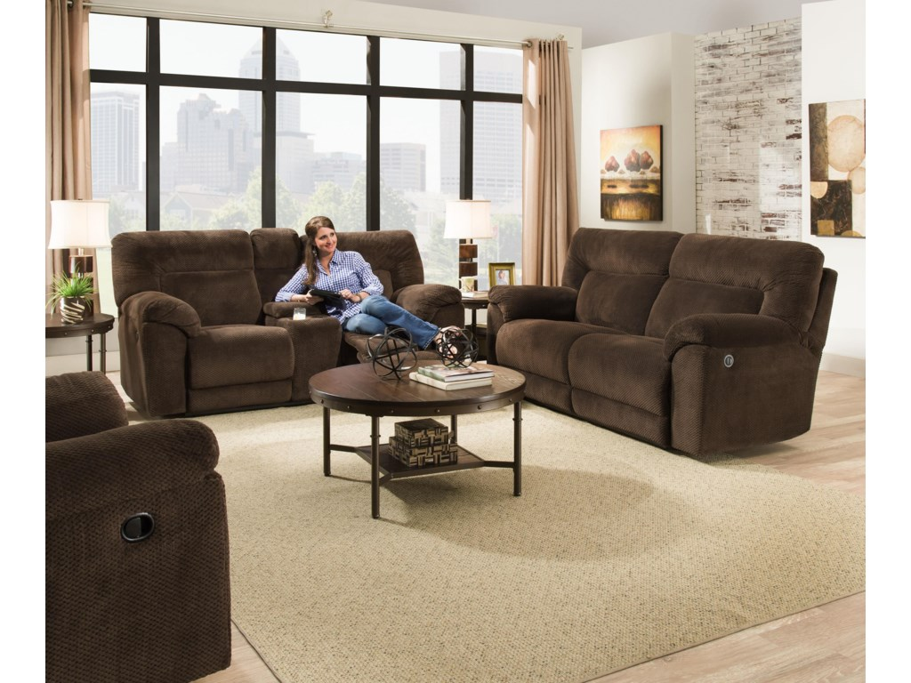 United Furniture Industries 50570Power Double Motion Loveseat w/ Console