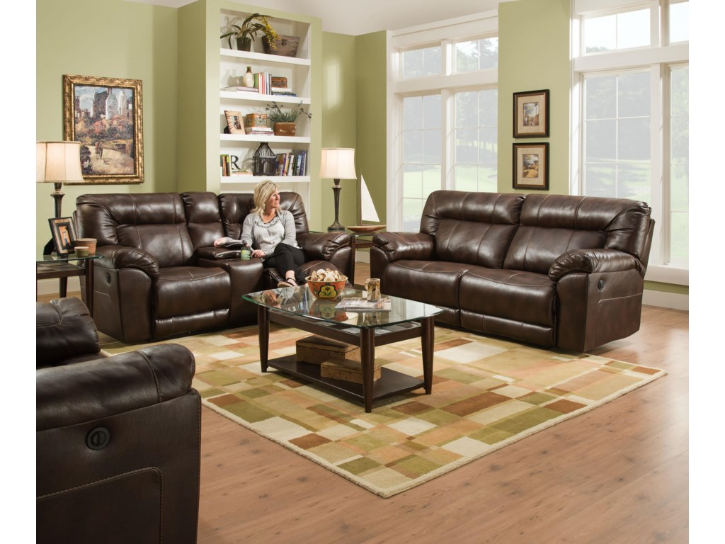 United Furniture Industries 50571BRDouble Motion Loveseat with Console