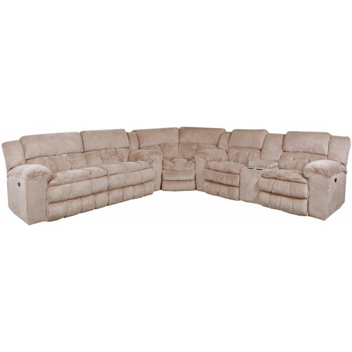 United Furniture Industries 50580BR Casual 5 Seat Reclining Sectional