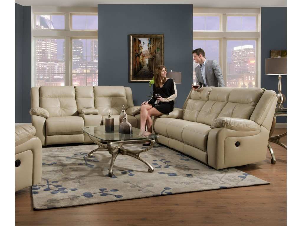 United Furniture Industries 50590Casual Double Motion Loveseat