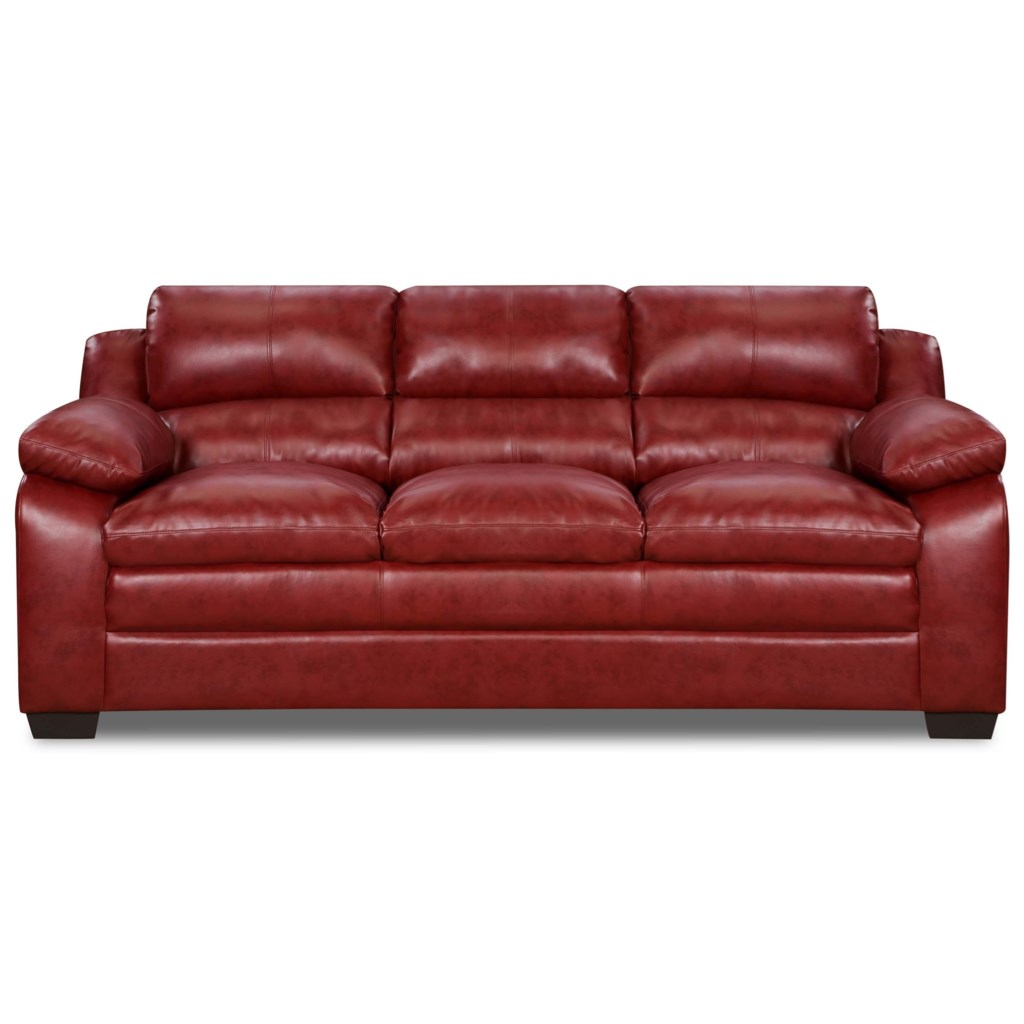 Simmons Upholstery 5066 5066sofa Casual Stationary Sofa With  ~ Leather Sofa Pillow Top Arms