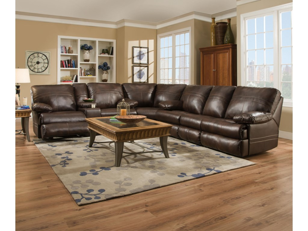 Simmons Upholstery 509813 Pc Sectional Sofa w/ Four Recliners