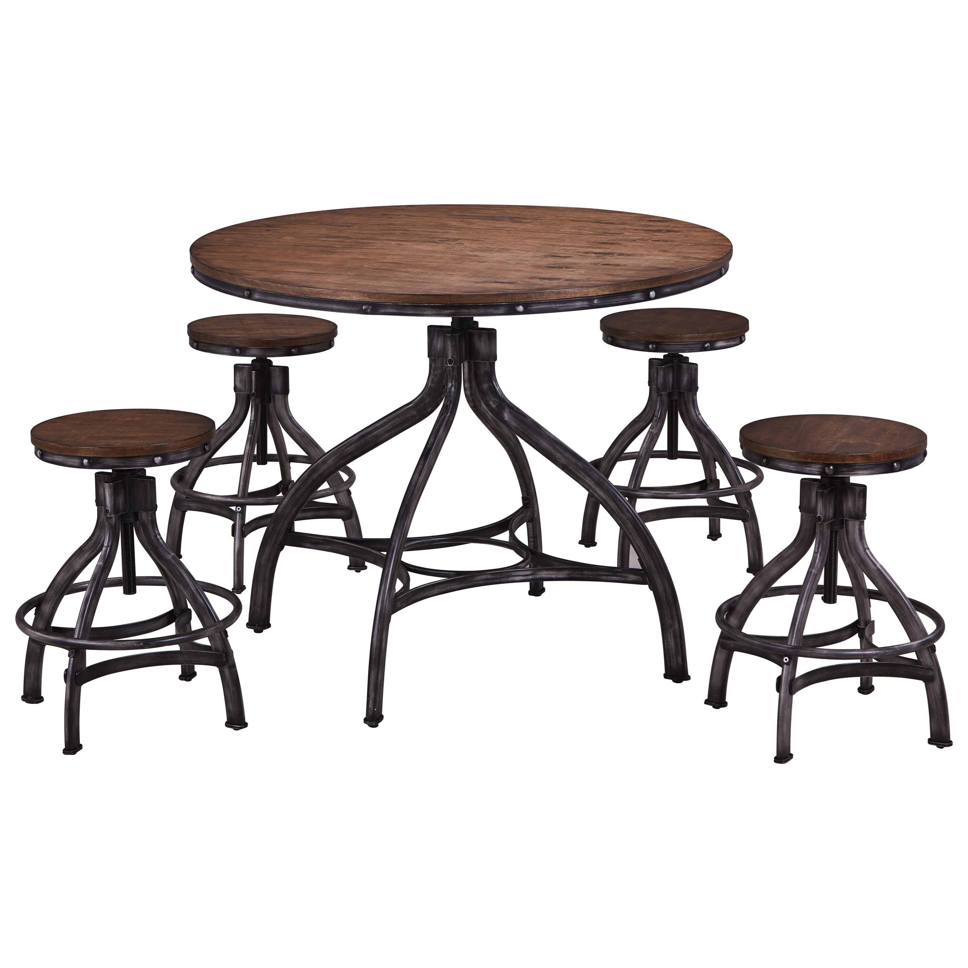 Simmons Chandler Contemporary Industrial 5 Piece Round Table And Stool Set