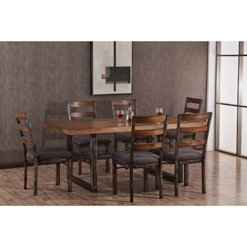 United Furniture Industries Chandler Industrial 7 Piece Table and Chair Set