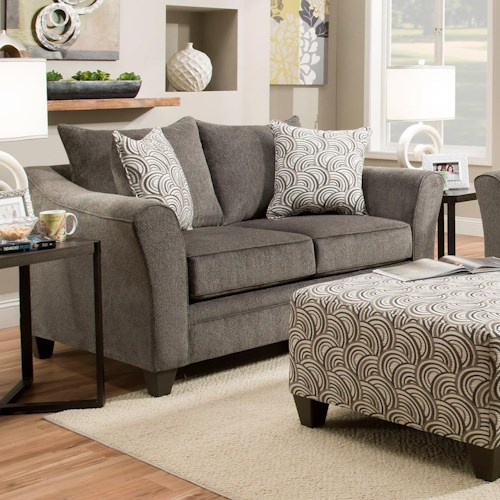 United Furniture Industries 6485 Transitional Loveseat with Wood Legs