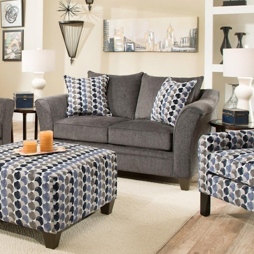 Simmons Upholstery 6485 Transitional Loveseat with Wood Legs