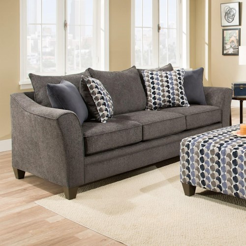 Simmons Upholstery 6485 Transitional Sofa with Wood Legs