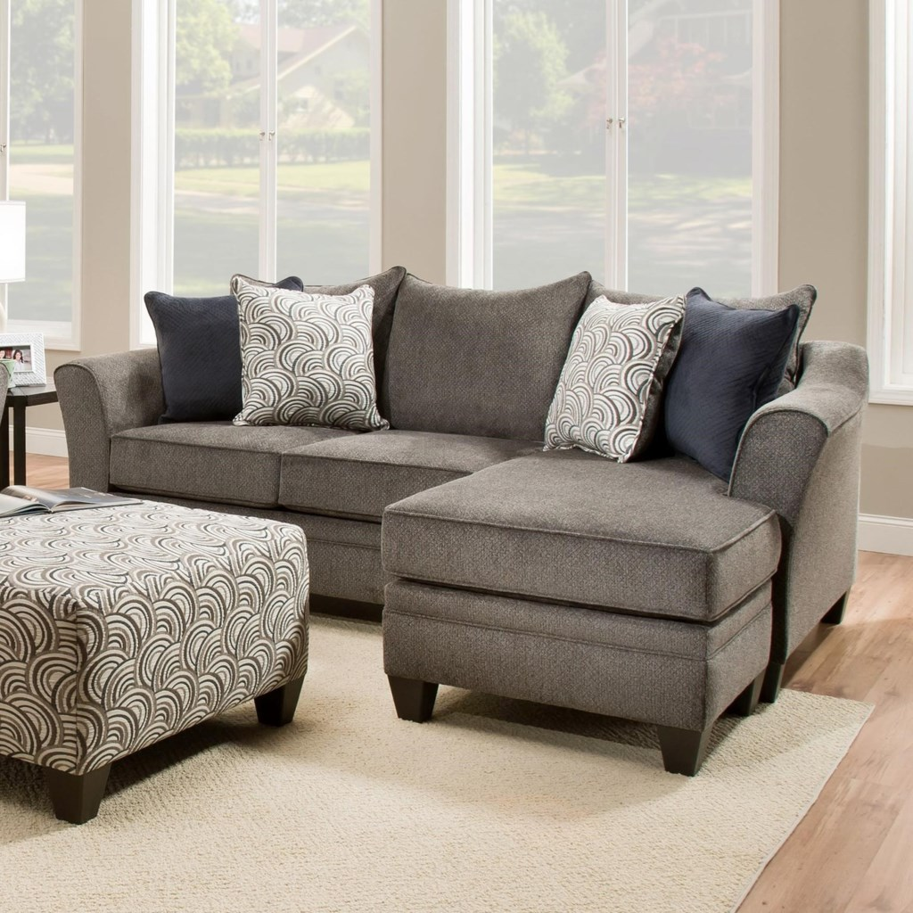 Simmons Upholstery 6485 Transitional Sofa Chaise with Wood Legs