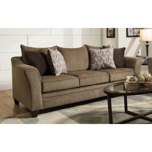 United Furniture Industries 6485 Transitional Queen Sleeper Sofa with Wood Legs