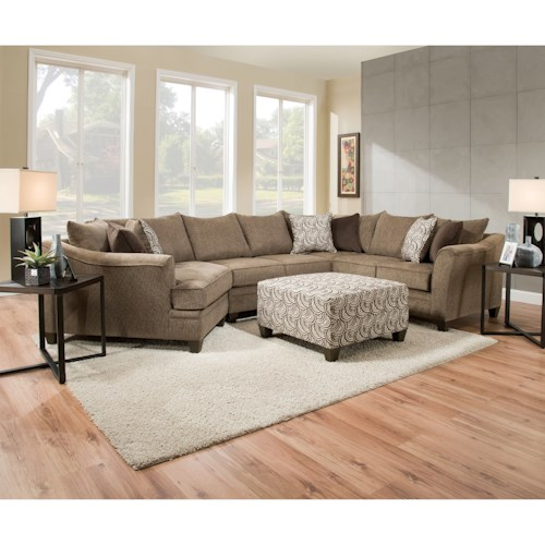 United Furniture Industries 6485 Transitional Sectional Sofa with Wood Legs