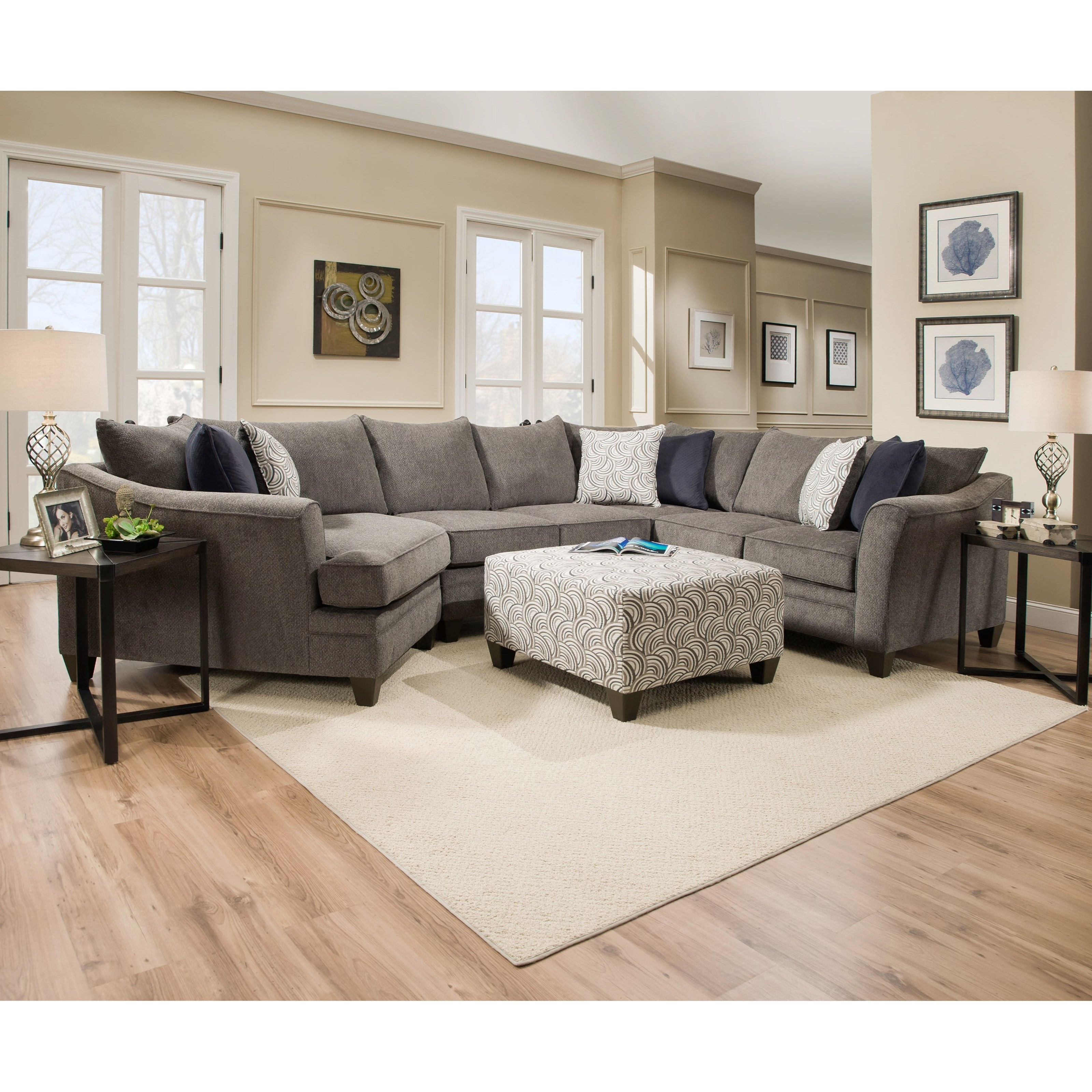 ... Transitional Sectional Sofa. Ottoman And Tables Not Included
