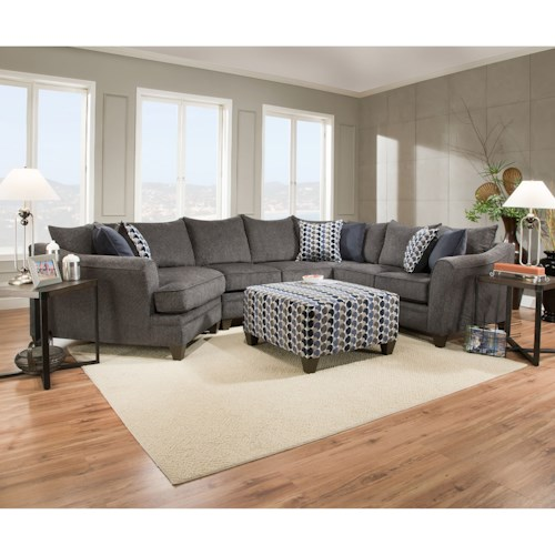 United Furniture Industries 6485 Albany slate Transitional Sectional