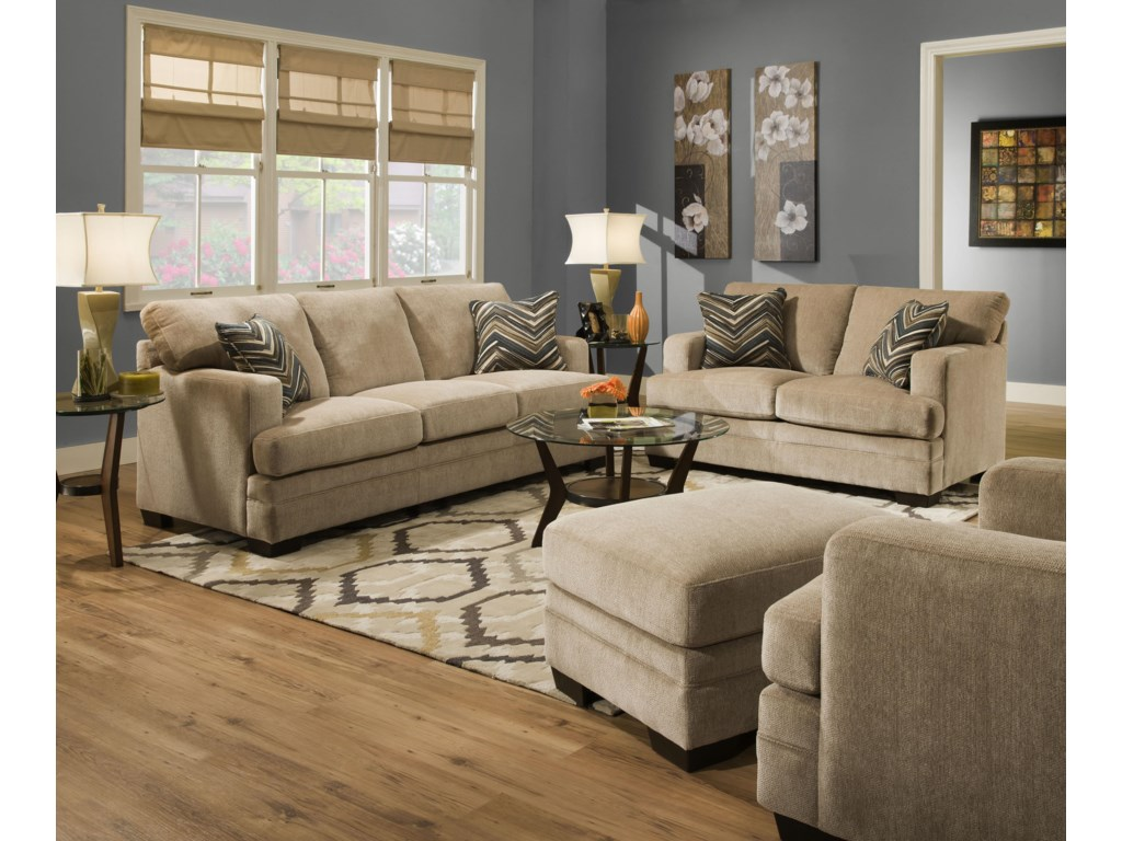 United Furniture Industries 6491Transitional Stationary Loveseat