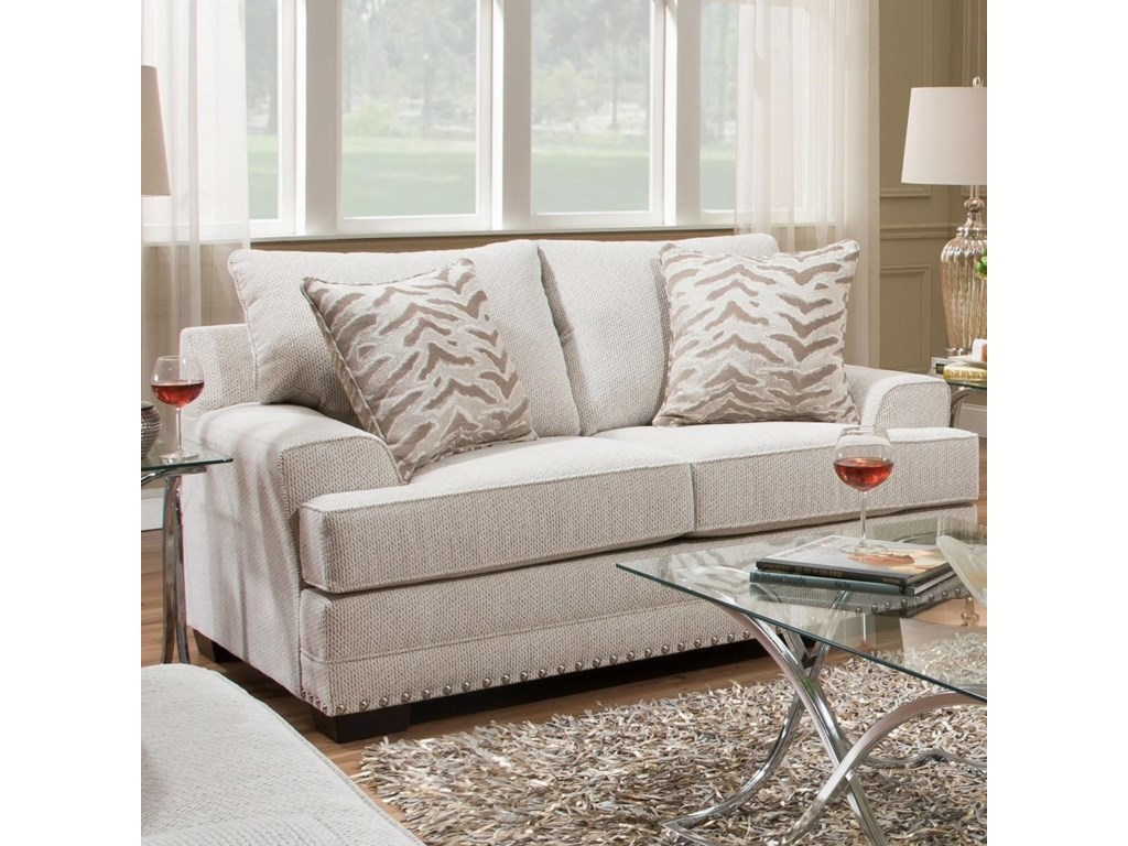 6547br Contemporary Love Seat With Nailhead Trim By United Furniture Industries
