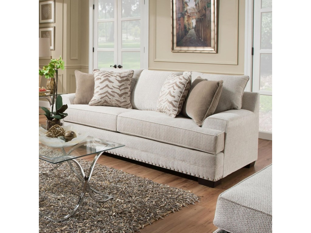 Simmons 6547br Contemporary Sofa With Nailhead Trim