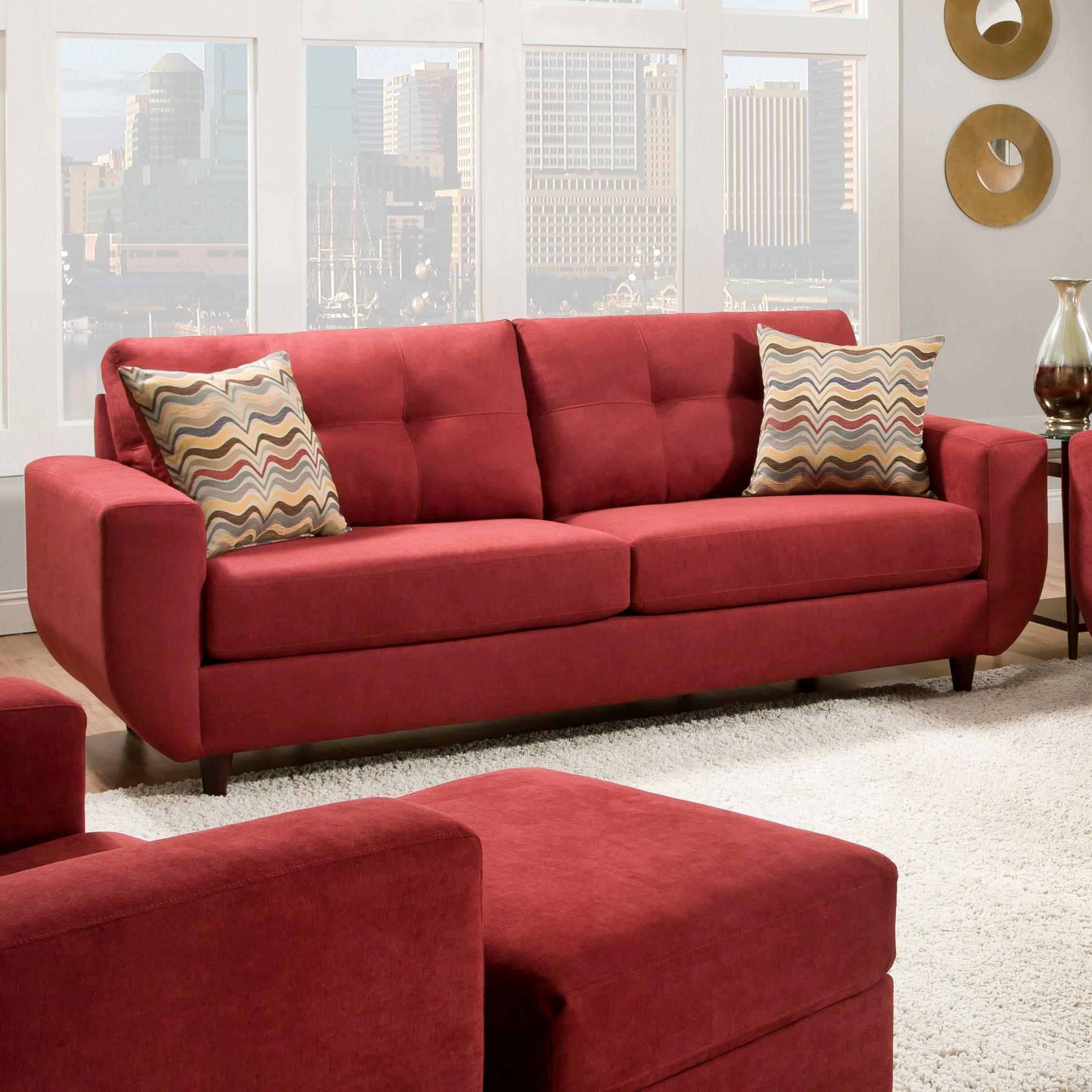 United Furniture Industries 6950 Contemporary Stationary Sofa With Tufted  Back   Pedigo Furniture   Sofa