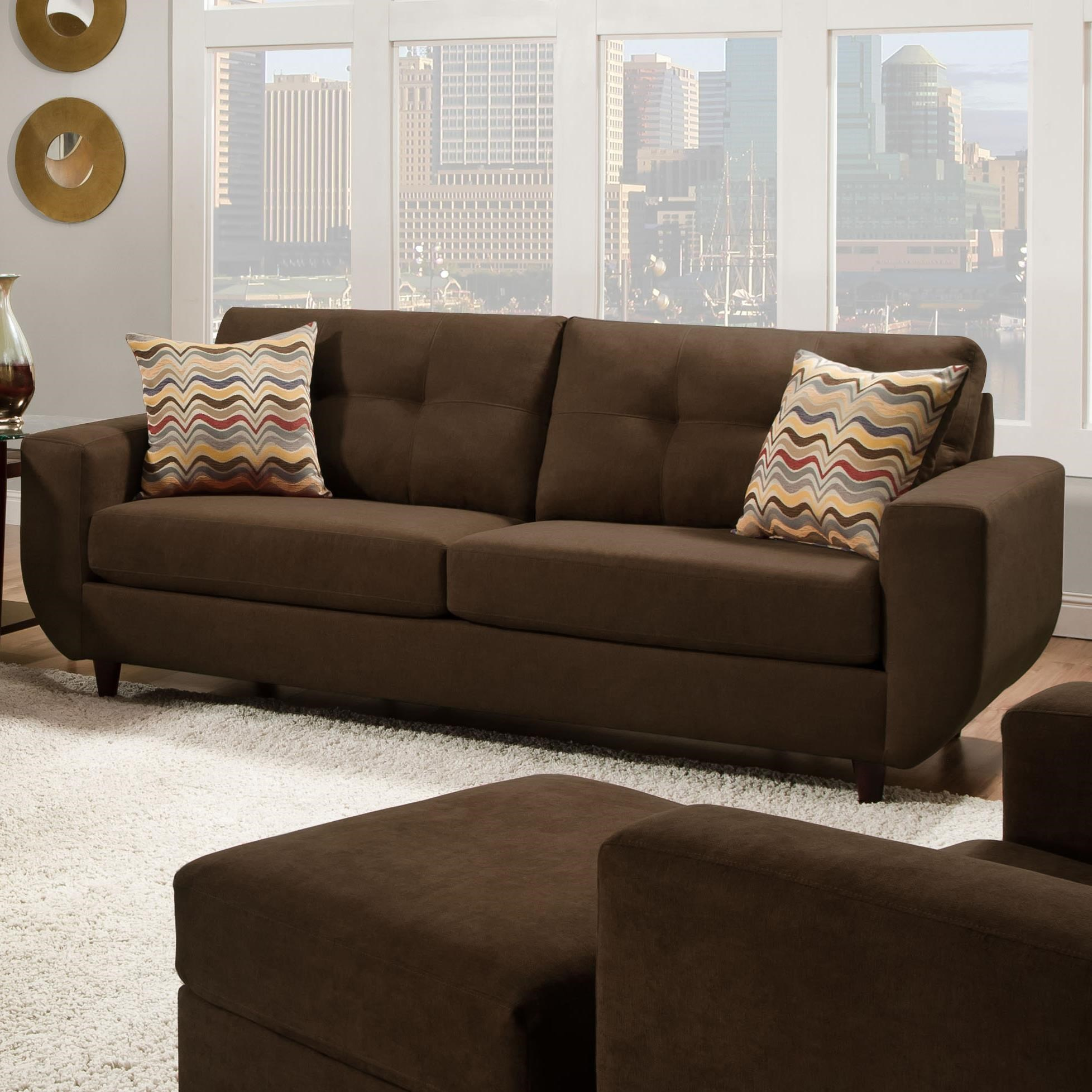 Simmons Upholstery 6950Contemporary Stationary Sofa ...