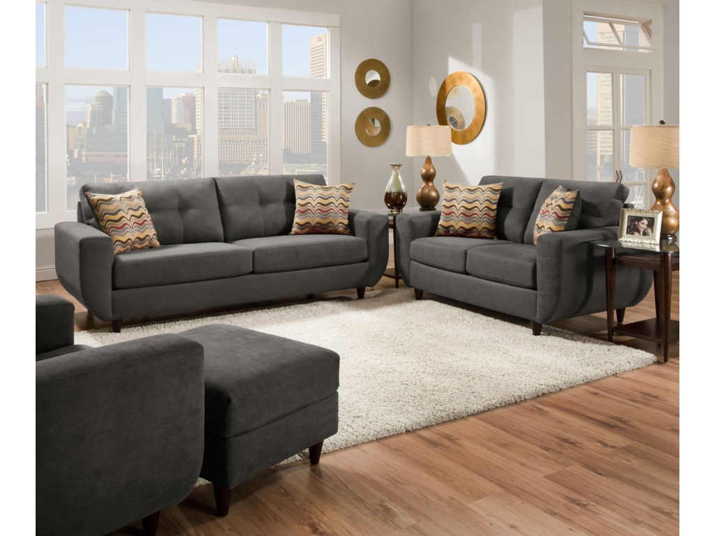 United Furniture Industries 6950Contemporary Stationary Sofa