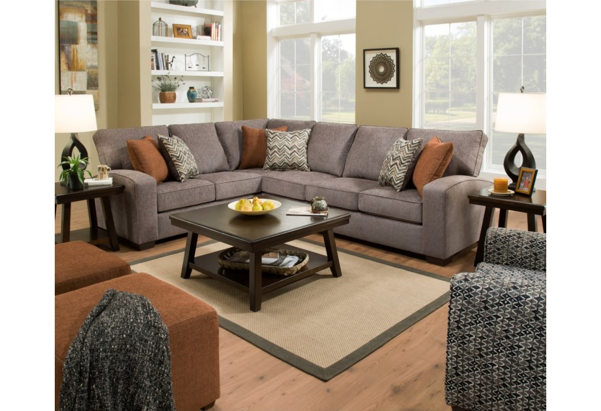 Simmons Upholstery 7077 Transitional L-Shaped Sectional with ...