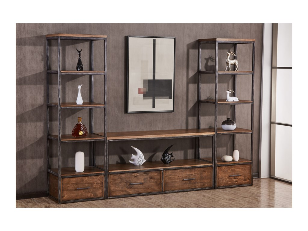 Simmons Upholstery 7326 Contemporary Wall Unit With Open And Concealed Storage Dunk Bright Furniture Modular Piece