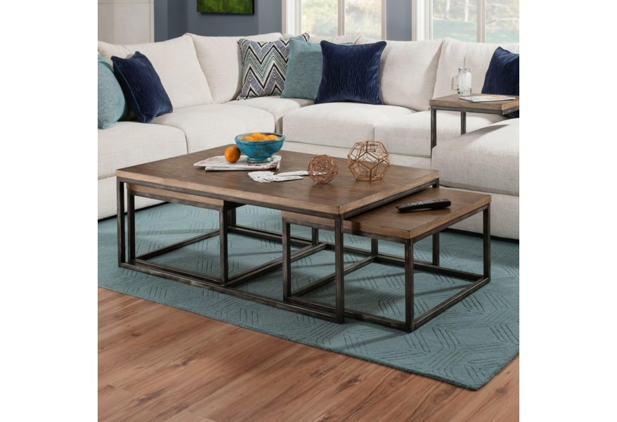 7326 Contemporary Nesting Coffee Table With Distressed Finish By Simmons Upholstery At Dunk Bright Furniture