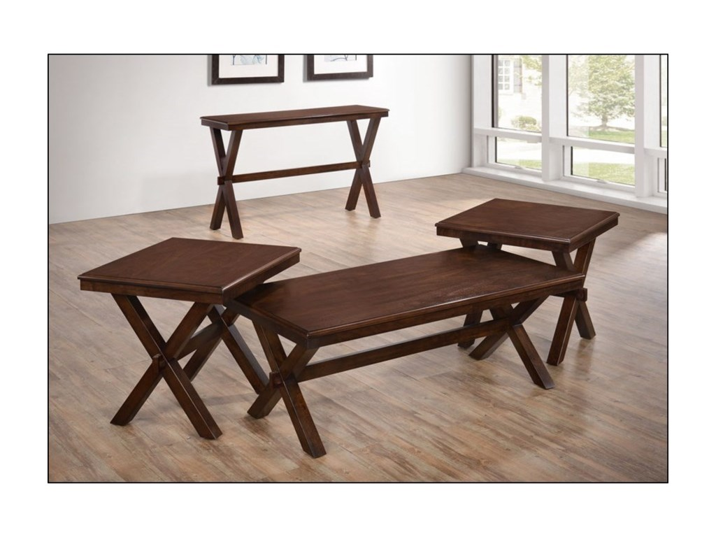 Shown with matching end tables and console table.