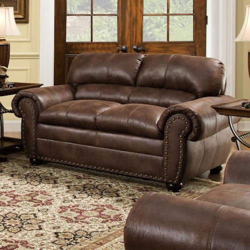 United Furniture Industries 7510 Casual Loveseat with Oversize Rolled Arms