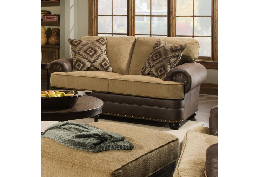 United Furniture Industries 7541 Rustic Style Loveseat with ...