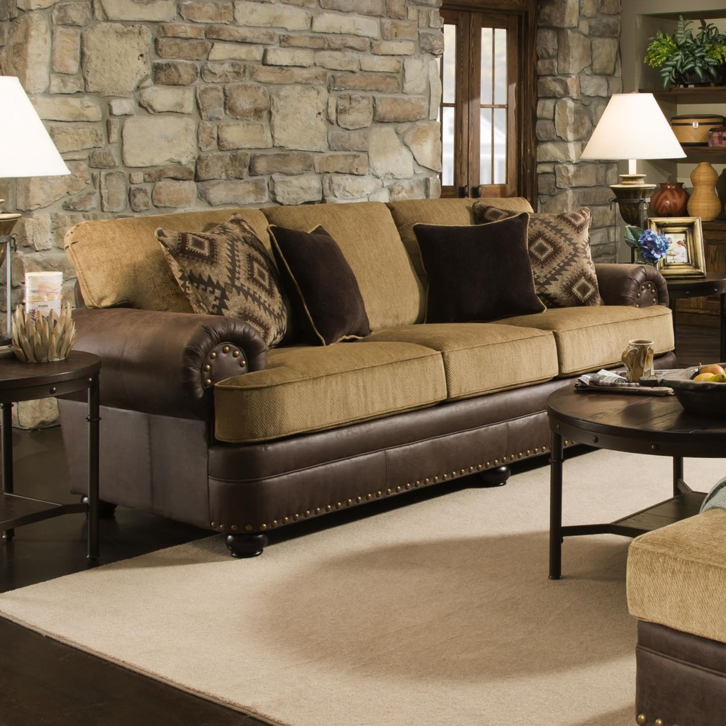 Simmons Upholstery 7541 Rustic Style Sofa With Nailhead Trim Dunk