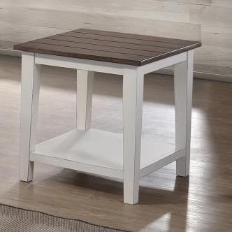 United Furniture Industries 7557 Transitional Two-Tone End Table with Slatted Table Top