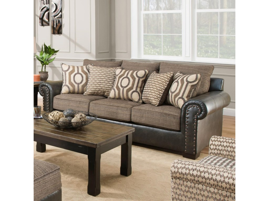 United Furniture Industries 7591 Sofa With Two Tone Fabric Cover