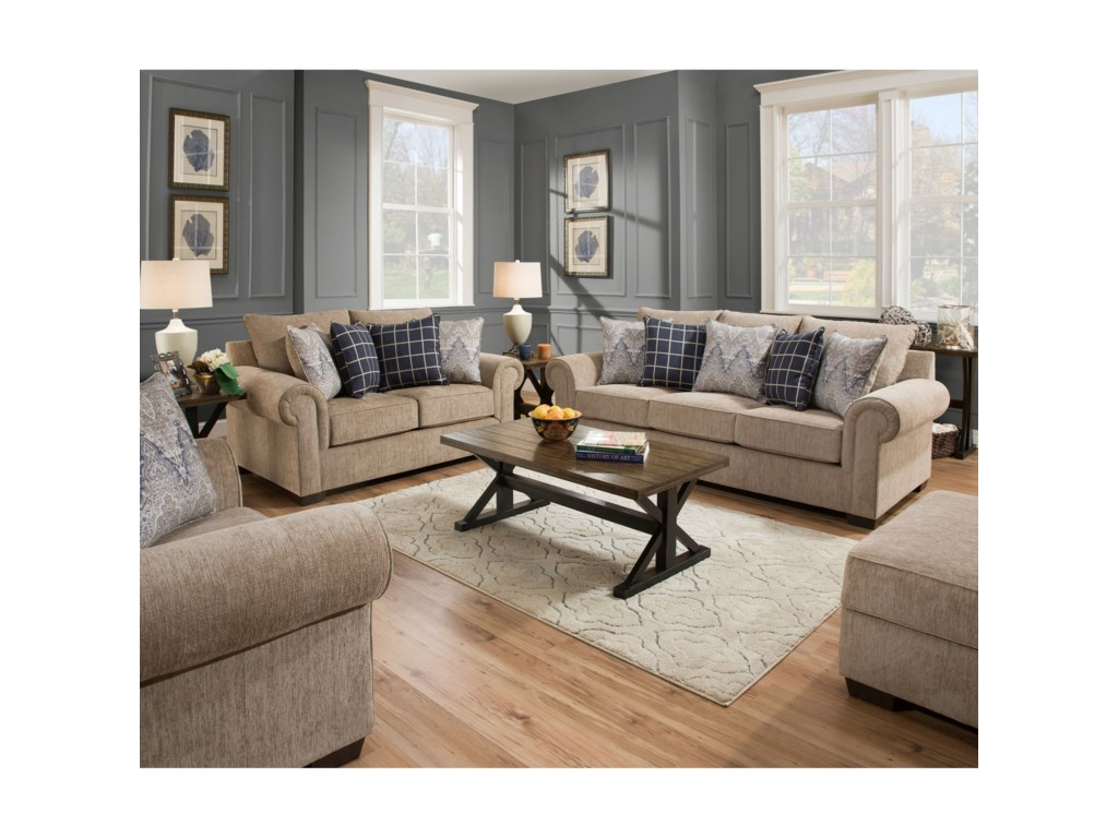 United Furniture Industries 7592BRTransitional Loveseat
