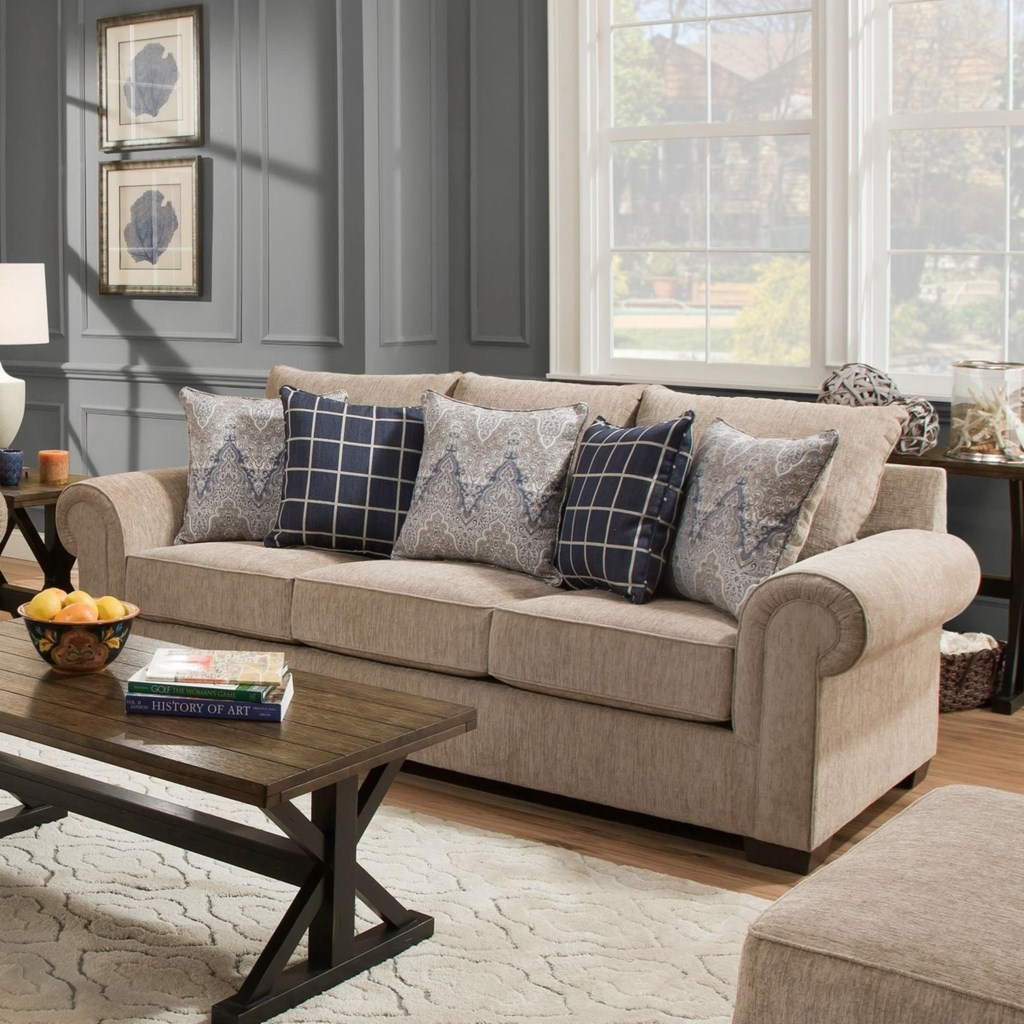 Simmons Upholstery 7592BR Transitional Sofa with Rolled Arms